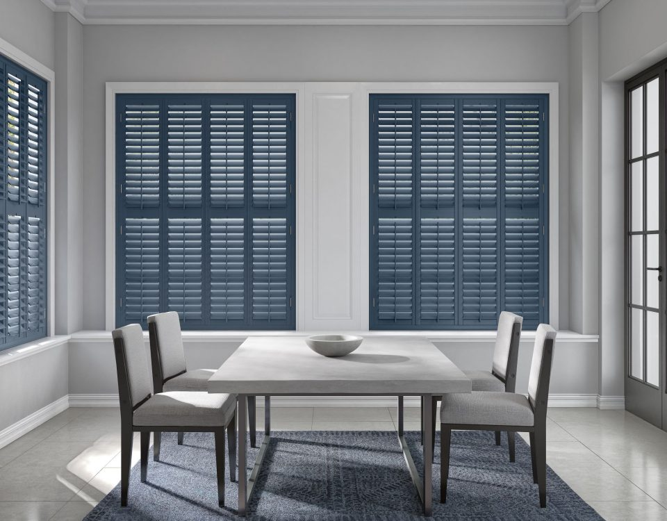 Custom Blue Plantation shutters